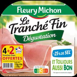 Jambon fin italien teneur en sel réduit FLEURY MICHON, 4+ 2offertes soit 180g