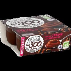 Crème dessert bio au chocolat LES 300 & BIO, 4 unités, 95g