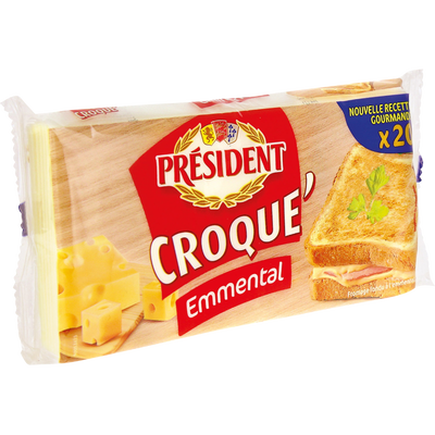 Fromage fondu au lait pasteurisé Croque Emmental  PRESIDENT, 18% de MG, 340G