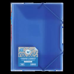 Chemise à élastique 3 rabats U, polypro, bleu