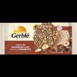 Galette de riz chocolat au lait saveur noisette GERBLE, paquet de 4 sachet soit 142g