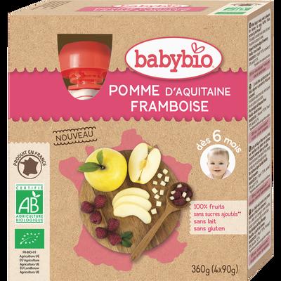 Gourde pomme d'Aquitaine & framboise BABYBIO, dès 6 mois, 4x90g