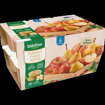 Coupelle 100% fruits pomme poire et vanille BLEDINA, de 6 à 36 mois, 12x100g