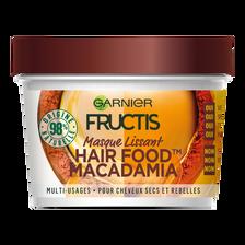 Masque nourrissant à la macadamia pour cheveux secs et rebelles hair foods FRUCTIS, pot de 390ml