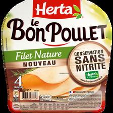 Le bon poulet sans nitrites HERTA, 4 tranches, 120g