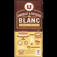 Tablette de chocolat blanc à pâtisser U, 180g