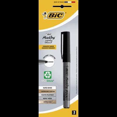 Marqueur permanent Pocket BIC, pointe ogive moyenne, encre à base d'alcool, corps plastique, noir, 1 unité