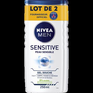 Nivea Gel Douche Sensitive Pour Le Corps, Le Visage Et Les Cheveux Nivea Men, 2 Flacons De 250ml