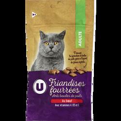 Friandises fourrées pour chat anti boule de poils au boeuf U, 60g