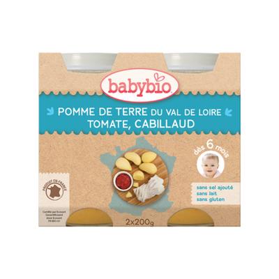 Pot Pomme de terre Tomate Cabillaud BABYBIO dès 6 mois 2X200g