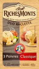 Riches Monts Fromage À Raclette Pasteurisé Duo Classique Et Poivres , 26% De Mg, 420g