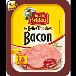 Bacon fumé JUSTIN BRIDOU, boîte fraîcheur de 16 tranches soit 160g