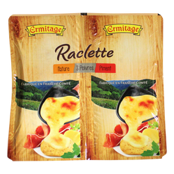 Fromage pour repas raclette au lait pasteurisé nature poivre et moutarde 28% de matière grasse ERMITAGE, 800g