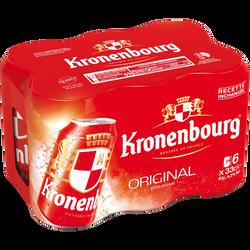Bière blonde, KRONENBOURG, pack de 6 boîtes métal de 33cl