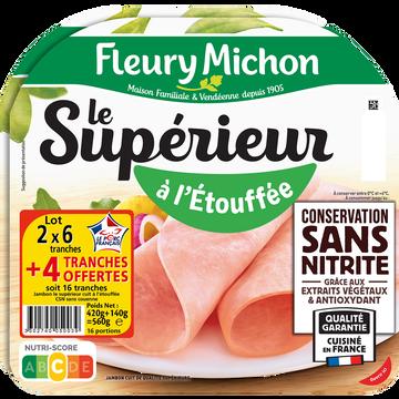 Fleury Michon Jambon Le Supérieur À L'étouffée Conservation Sans Nitrite (6 Tranches+2 Offertes)x2 Fleury Michon 560g