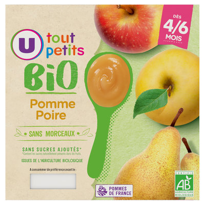 Pots dessert pomme poire Tout Petits Bio U, de 4 à 6 mois, 4x100g