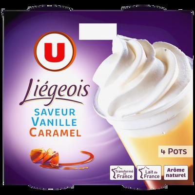 Dessert liégois saveur vanille sur lit de caramel et crème fouettée U,4x100g