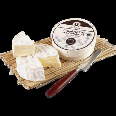 Camembert de Normandie sélection AOP au lait cru U SAVEURS, 20% de MG,250g