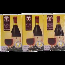 Vin De France rouge Fruité, BRIKETTES, 3x25cl