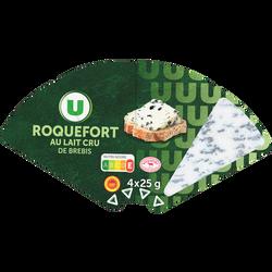 Roquefort AOP au lait cru de brebis 32% matière grasse U,  4 portionssoit 100g