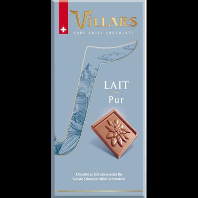 Tablette de chocolat suisse lait pur VILLARS, tablette de 100g