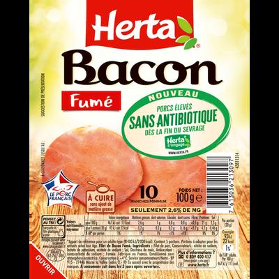 Bacon fumé sans antibiotique HERTA, 10 tranches soit 100g