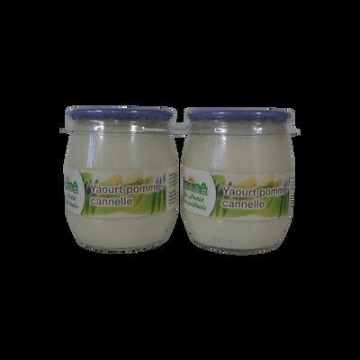 Yaourt au lait entier brassé pomme et cannelle LE PETIT VERSAILLAIS, pot en verre 2x125g