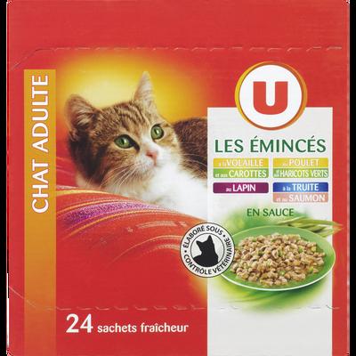 Emincés sauce pour chat volaille carottes, poulet haricots vertes, lapin, truite, saumon U, 24x100g