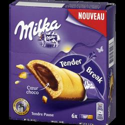 Biscuit tender break coeur chocolat, MILKA, paquet de 156g