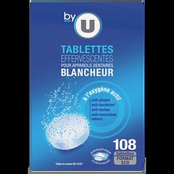 Tablettes effervescentes pour appareils dentaires blancheurs BY U x108