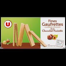 Fines gaufrettes chocolat et noisette U, 4 sachets de 8 gaufrettes dans 1 paquet de 160g