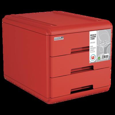Mini bloc 3 tiroirs rouge coulissants, format A5