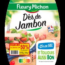 Fleury Michon Dés Jambon -25% De Sel Bleu Blc Coeur  2x2x75g (2e-50%)300g