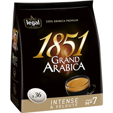 Legal Café En Dosettes Grand Arabica 1851 Legal, X36 Soit 250g