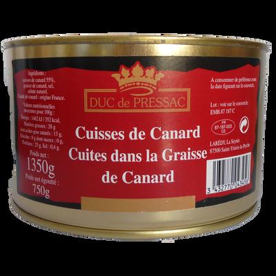 5 cuisses de canard cuites dans la graisse de canard LAREDY, boîte 1350g