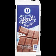 Tablette de chocolat au lait alpin U, 3 unité de 100g, 300g