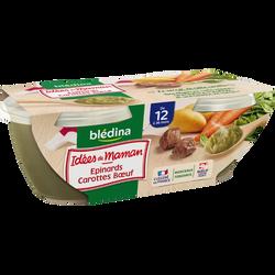 Idée de maman épinards, carottes et boeuf, dès 6 mois, BLEDINA, 2 pots, 200g