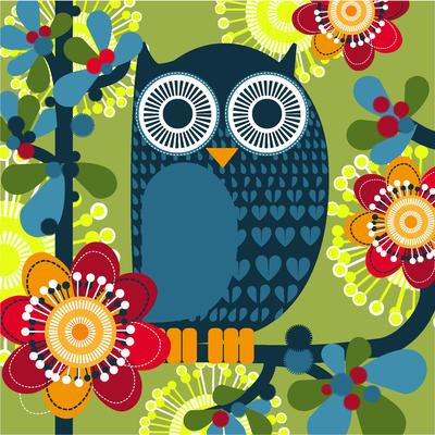 Serviettes Owl Green HAPPY PAPER, 3 plis, 33x33cm, 20 unités