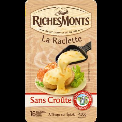 Fromage pour raclette au lait de montagne pasteurisé sans croûte RICHESMONTS, 26% de MG, 420g