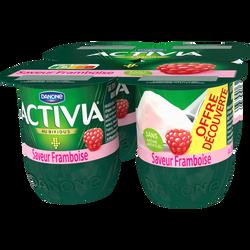 Lait fermenté sucré au bifidus aromatisé à la framboise ACTIVIA, 4x125g