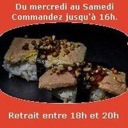 Sushi par paire Foie gras confiture de figue éclats de noisettes SUSHI MONT BLANC
