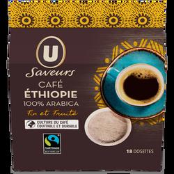 Café moulu Ethiopie U SAVEURS, 18 dosettes souples, 125g