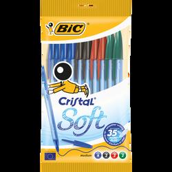 Stylo bille BIC Cristal Soft, pack de 10 coloris assortis