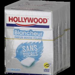 HOLLYWOOD blancheur menthe polaire, sans sucres, 5x10 dragées, 70g