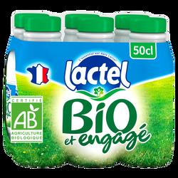 Lait écrémé UHT LACTEL Bio, 6x50cl