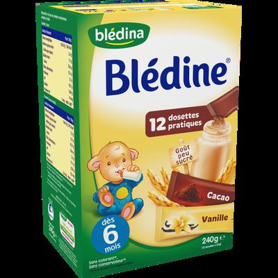 Céréales infantiles saveurs cacao et vanille BLEDINE, dès 6 mois, 12 dosettes, 240g