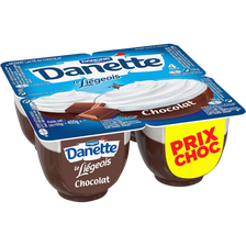 Danette dessert le liégeois lacté au chocolat DANONE, 4 unités, 100g
