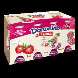 Yaourt à boire fraise framboise DANONINO, 8x100g