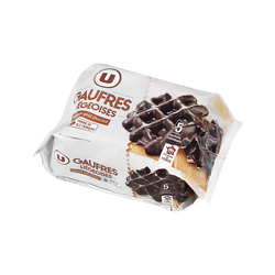 Gaufres liégeoises nappage goût chocolat U, 320g