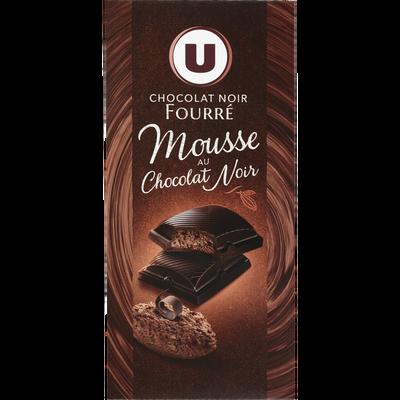 Tablette de chocolat noir fourrage à la mousse choco U, 140g